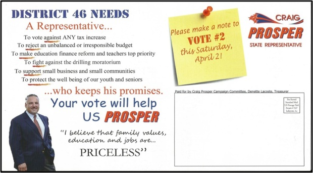 Direct mail piece for a Louisiana Legislature candidate in a special election.